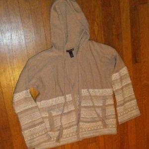 Willi Smith Tan and White Knit Cardigan w Hood